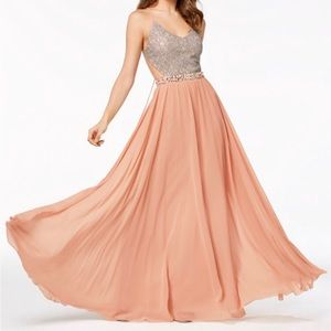 City Studio blush & silver prom dress